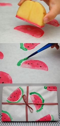 DIY watermelon print wrapping paper using a potato wedge. Would also be a great craft for the littles! DIY watermelon print wrapping paper using a potato wedge. Would also be a great craft for the littles! Kids Crafts, Craft Projects, Diy And Crafts, Arts And Crafts, Paper Crafts, Diy Paper, Project Ideas, Craft Ideas, Fabric Crafts
