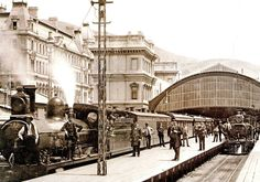 A steam train prepares to leave Cape Town station in a photograph from around In the background, the slopes of Signal Hill are visible. The old station was replaced by the present complex, in Old Pictures, Old Photos, South African Railways, Old Train Station, Train Stations, Old Western Towns, Cape Town South Africa, Old Trains, Out Of Africa