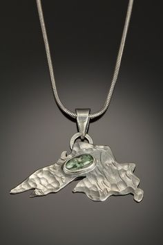 Lake Superior and MI Greenstone Pendant, $249.00