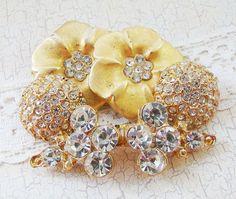 Vintage Gold Metal Rhinestone Flower Button Buckle by Alyssabeths, $15.00