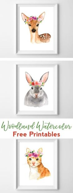 woodland printable art | watercolor printables | nursery decor | nursery wall art | watercolor wall art | woodland