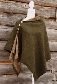Harris Tweed Oak Poncho - now just replace the buttons with frog closures!
