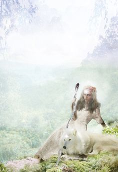 girl with her white wolf