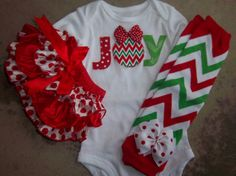 Baby Girl Christmas Outfit  Chevron JOY Leg by LilBeanBabyBoutique, $55.99