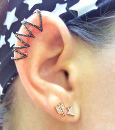 Black is back!  14K Gold and Black Diamond Ear Topper with  broken arrow stud earrings in 14K Rose Gold and Diamonds from The EarStylist by Jo Nayor.  www.EarStylist.com