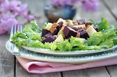 Beet, Pear, and Almond Salad - beets, almonds, pears, lettuce, Pepper-Mint Dressing (see Dressings board)