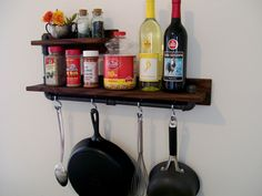 Rustic Industrial 2 Tier Spice Rack Kitchen Shelf Pot Rack Pipe Shelf Available with Black or Silver Pipe Eco Friendly by TheVineyards on Etsy https://www.etsy.com/listing/229223029/rustic-industrial-2-tier-spice-rack