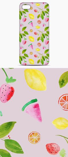 Spring Summer Fruits by Claudia Orengo Guardiola - A spring summer repeat pattern made from watercolor fruit paintings.