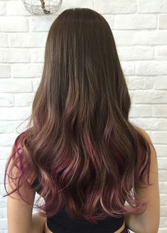 Raspberry Ribbons A fresh hair color with added highlights, complemented with Ultrasonic Iron hair treatment for luscious locks! Pink Hair Streaks, Ombre Hair Color, Cool Hair Color, Purple Hair, Hair Colour Design, Hair Dye Tips, Colored Hair Tips, Fresh Hair, Brown Hair With Highlights