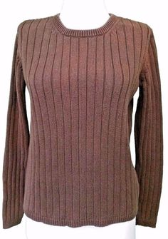 Eddie Bauer  Sweater Womens size S Ribbed Brown Stretch Pullover Small #EddieBauer #Crewneck #casual