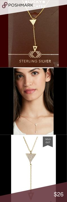 LUCKY BRAND DOUBLE ARROW PENDANT NECKLACE Understated, but not underestimated, our delicate sterling silver double necklace features gold-plated triangle accents for a slightly eclectic touch.   18 inches long (+ 1 inch extender chain) x 1.63 inches tall x 0.25 inches wide  Lobster claw closure Lucky Brand Jewelry Necklaces
