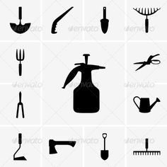 Garden Tool Icons  #GraphicRiver         Set of garden tool icons     Created: 13August13 GraphicsFilesIncluded: VectorEPS Layered: No MinimumAdobeCSVersion: CS Tags: agriculture #axe #backyard #botanical #can #design #ecology #equipment #garden #graphic #ground #icon #pictogram #pitchfork #pruner #pulverizer #scissors #set #shovel #silhouette #tool #vector #water