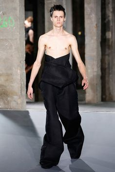 """The 11 Most Outrageous Looks from Men's Fashion Week - Rick Owens - from InStyle.com Barbizon St. Louis Model, www.barbizonstl.com ask """"Are you kidding? Fashion Gone Bad, Really Bad"""