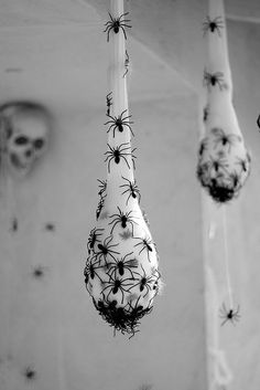 Spider Nests - Stuffed white stockings with plastic spiders.  Neat idea!