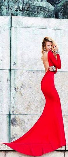 Tarik Ediz - red evening gown - 2014