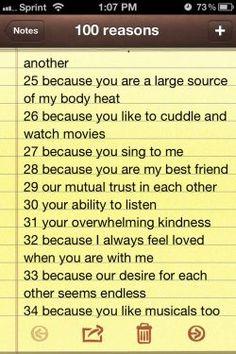 100 reasons why i love you   Tumblr