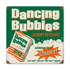 Vitage Laundry Detergent | Dancing Bubbles Laundry Detergent Retro Tin Metal Sign Reproduction ...
