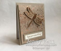 Dragonfly Dreams for - Jenny Hall Design Bee Cards, Stamping Up Cards, Rubber Stamping, Butterfly Cards, Monarch Butterfly, Handmade Birthday Cards, Card Maker, Card Sketches, Folded Cards