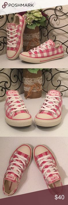 CONVERSE ALL STAR Buffalo Check Low Tops PRICE IS FIRM RARE pretty pink & cream/white checkered Chucks with pink stripes and heel & tongue brand labels. So perfect for spring & summer! These are out-of-production, you won't see them coming and going. Juniors Sz 3 is Women's Sz 5. Freshly machine washed and air dried Side soles & toe caps are cream, NOT stained. Please check out more of the Posh Boutique Outlet! Converse Shoes Sneakers