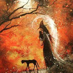 Painting by Folk Art Artist Terri Foss Chat Halloween, Halloween Vintage, Halloween History, Samhain Halloween, Halloween Series, Halloween Painting, Halloween Pictures, Fall Halloween, Halloween Prop