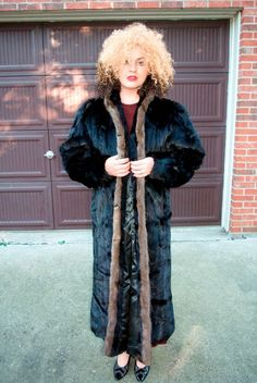 FULL LENGTH BLACK MINK EVENING OUT COAT FOR SALE FOX TRIM FROM THE EVANS FUR COLLECTION VINTAGE SEXY  #EVENSFURFROMCHICAGO #BasicCoat