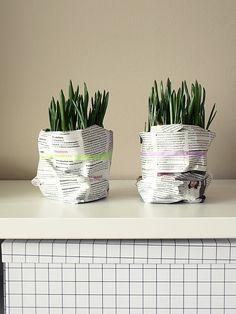 Grape hyacinths wrapped in newspaper with masking tape. http://www.divaaniblogit.fi/blogit/kotilo/2012/03/28/paasiaiskukat/