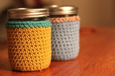 mason jar coozies...ooh! Might need to try with smaller needles...??