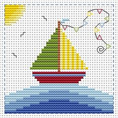 Sail Away card cross stitch kit kit by Fat Cat Cross Stitch.  Design 8.5cm x 8.5cm 14 count white Aida The kit contains fabric, stranded Anchor embroidery threads, needle, easy to follow instructions and chart, card and envelope.  A brand new kit will be sent directly to you by Fat Cat Cross Stitch - usually within 2-4 working days © Fat Cat Cross Stitch