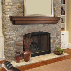 Pearl Mantels Auburn Traditional Fireplace Mantel Shelf - Fireplace Mantels & Surrounds at Hayneedle Wood Mantel Shelf, Wood Fireplace Mantel, Fireplace Shelves, Wood Mantels, Rustic Fireplaces, Home Fireplace, Fireplace Remodel, Fireplace Surrounds, Fireplace Design