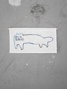 Cat wall hanging by Mogu Takahashi for Fine Little Day, Limited Edition.