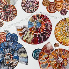Each Day (fossils), watercolor, Sam Cannon Art Sea Life Art, Sea Art, Silk Painting, Painting & Drawing, Sam Cannon, Art Techniques, Art Lessons, Watercolor Paintings, Cool Art