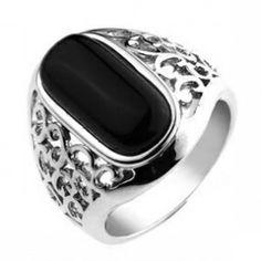 Cutout Design Sterling Silver Black Agate Mens Ring | Aimeng-silver.com