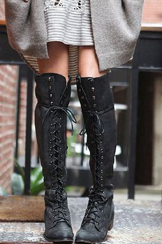 Our Go-To Transitional Footwear: Knee-High Boots #refinery29  Free People Joe Lace Up boot
