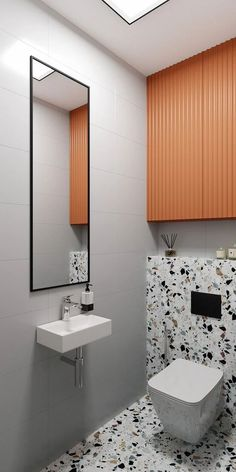 Terrazzo Tile Washroom Design, Bathroom Design Luxury, Bathroom Design Small, Bathroom Layout, Modern Toilet Design, Small Toilet Design, Bathroom Design Inspiration, Bad Inspiration, Home Room Design