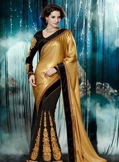 Designer Half Half Satin Saree In Beige & Black . Shop at - http://www.gravity-fashion.com/designer-half-half-satin-saree-in-beige-black.html