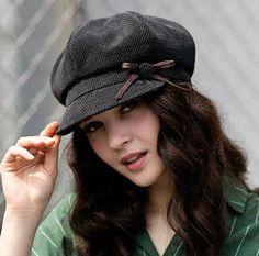 Love the tiny bow detailing. Fashion bow newsboy cap for women plain corduroy beret hat
