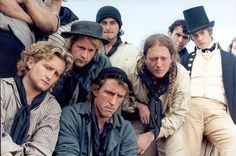 Master and Commander: The Far Side of the World - Allan opened his eyes to find a group of strange faces staring down at him, and a horrible pain in his head. Where in the world was he? (Time travel? Press ganged? Survivor of pirate attack? Rich young dandy whose father payed a captain to kidnap his son to teach him a lesson? Or young heir to a fortune whose twin brother had him kidnapped; and since they are nearly impossible to tell apart...)