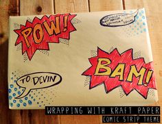 Gift Wrapping Ideas: Brown Kraft Paper, wrapping for little boys, comic strip theme