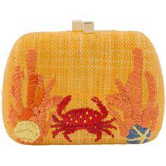 Serpui Marie Lolita Crab Raffia Embroidered Straw Clutch ($225) ❤ liked on Polyvore featuring bags, handbags, clutches, orange, square purse, orange purse, raffia purse, chain handbags and chain purse