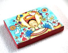 #Mexican girl wood block #art #print; the perfect small gift! By Mary Ann Farley, $8.50