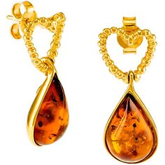 Be-Jewelled Heart Amber Teardrop Earrings ($125) ❤ liked on Polyvore featuring jewelry, earrings, heart drop earrings, heart jewelry, amber jewelry, amber earrings and heart jewellery