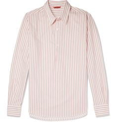 Barena - Slim-Fit Striped Cotton-Poplin Half-Placket Shirt
