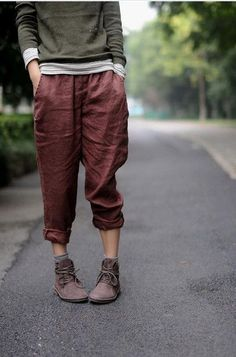 Johnature 2017 New Women Linen Pencil Pants Red Loose Casual Long Pants Elastic Waist Straight Vintage High Quality Pants
