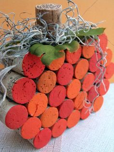 Festive Fall Wine Cork Pumpkin by BonusMomBoutique on Etsy (I can totally make this)