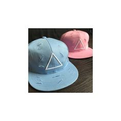 Triangle Embroidered Ripped Baseball Cap (15 CAD) ❤ liked on Polyvore featuring accessories, hats, women, pink baseball hat, distressed ball cap, distressed baseball cap, baseball caps hats and pink hat