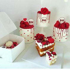 Red Birthday Cakes, Beautiful Birthday Cakes, Gorgeous Cakes, Valentines Cakes And Cupcakes, Valentine Cake, Valentines Baking, Valentines Day Desserts, Mini Cakes, Cupcake Cakes