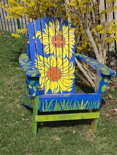 Sunflower Adirondack Chair By 3rd Graders At Hidden Springs Elementary For  Art Auction Fundraiser (