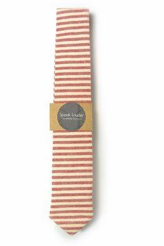 Red and ivory/cream striped tie - Wedding Mens Tie Skinny Necktie - Laid-Back necktie by speaklouder on Etsy