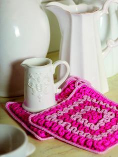 Ruffled Potholder on Filet Base from Crochet for the Kitchen by Tove Fevang. Over 50 Patterns for Placemats, Potholders, Hand Towels, and Dishcloths Using Crochet and Tunisian Crochet Techniques. Tunisian Crochet, Potholders, Hand Towels, Base, Patterns, Kitchen, Decor, Block Prints, Pot Holders
