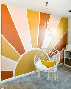 Room Wall Painting, Mural Painting, Room Paint, Painting Designs On Walls, Geometric Wall Paint, Accent Wall Bedroom, Bedroom Wall Designs, Bedroom Murals, Striped Walls